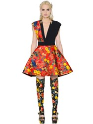 Fausto Puglisi Floral Print Silk Twill And Crepe Dress