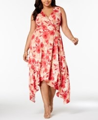 Love Squared Trendy Plus Size Printed Handkerchief Hem Dress Navy Coral Forest