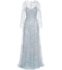 Valentino Embellished Gown Blue