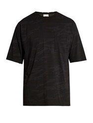 Saint Laurent Distressed Camouflage Print Cotton T Shirt Black