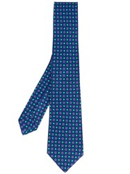 Kiton Floral Print Tie Men Silk One Size Blue