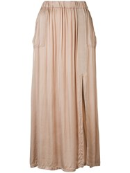 Raquel Allegra Patch Pocket Maxi Skirt Nude Neutrals