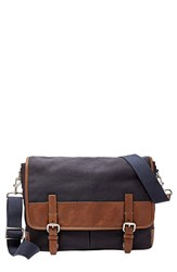 Men's Fossil 'Graham' Canvas Messenger Bag Blue Navy