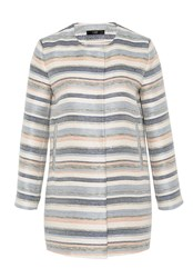 Hallhuber A Line Coat With Textured Stripes Multi Coloured Multi Coloured
