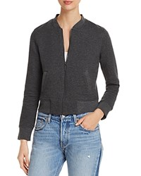 Marc New York Performance Ribbed Knit Bomber Jacket Charcoal Heather Linear
