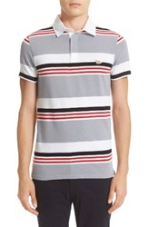 Maison Kitsune Men's Stripe Cotton And Linen Polo
