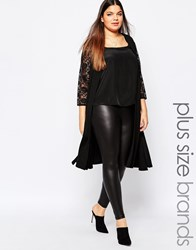 Pink Clove Duster Coat With Lace Sleeves Black