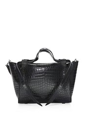 Elena Ghisellini Usonia Crocodile Leather Satchel Black