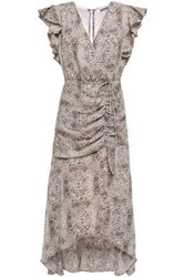 W118 By Walter Baker Woman Lace Up Ruffled Snake Print Crepe Midi Dress Neutral