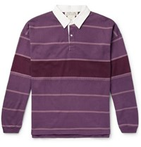 Remi Relief Striped Cotton Jersey Rugby Shirt Purple
