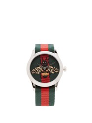 Gucci G Timeless Web Striped Canvas Watch Multi
