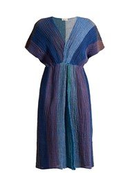 Masscob V Neck Crinkled Linen Blend Dress Blue Multi