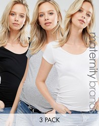 New Look Maternity 3 Pack Short Sleeve T Shirts White Grey Black