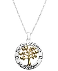 Macy's Inspirational Family Is Forever Pendant Necklace In 14K Gold Flashed Sterling Silver