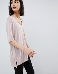 Selected Soft Touch V Neck T Shirt Shadow Gray Pink