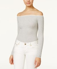 American Rag Striped Off The Shoulder Bodysuit Only At Macy's Grey Combo