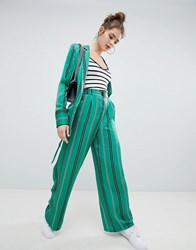 Bershka Satin Wide Leg Trouser In Green