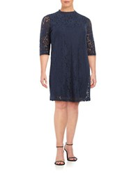 Junarose Three Quarter Sleeve Lace Shift Dress Black Iris