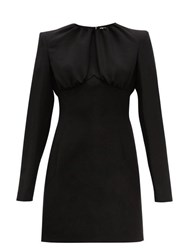 Sara Battaglia Gathered Bodice Crepe Mini Dress Black