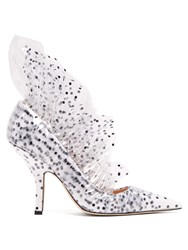 Midnight Shell Polka Dot Pvc And Tulle Pumps White Black