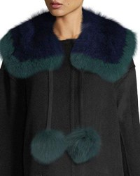 Charlotte Simone Puffalump Fur Neck Scarf W Pompoms Blue Green Multi