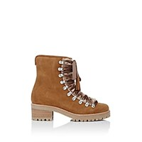 Barneys New York Suede And Shearling Lace Up Ankle Boots Beige Tan Beige Tan