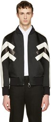 Neil Barrett Black Panelled Modernist Bomber Jacket
