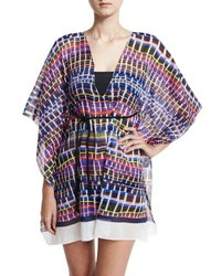 Milly Chia Giraffe Print Caftan Coverup Multicolor