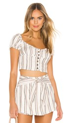 Privacy Please Payton Top In Beige. Neutral Stripe