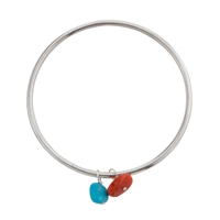 Cobra And Bellamy Double Sterling Silver Nugget Bead Bangle Turquoise Coral