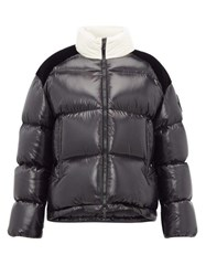Moncler Chouelle Logo Print Quilted Down Jacket Black White