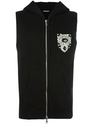 Balmain Sleeveless Chest Patch Hoodie Black