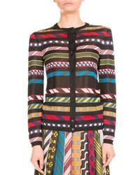 Mary Katrantzou Multi Stripe Tie Print Cardigan Multi Pattern