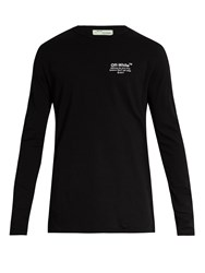 Off White Embroidered Long Sleeved Cotton Jersey T Shirt Black Multi
