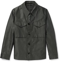 Tom Ford Leather Trimmed Coated Cotton Blend Field Jacket Army Green