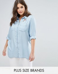 Koko Denim Look Floral Embroidered Shirt Blue