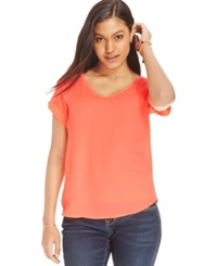 Hippie Rose Juniors' Loose Fit V Neck Tee Washed Coral