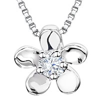 Jools By Jenny Brown Rhodium Plated Silver Cubic Zirconia Flower Pendant Silver