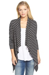 Caslon Double Face Drape Front Cardigan Black Grey Stripe Colorblock