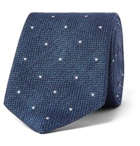 Richard James 8Cm Polka Dot Embroidered Silk Delave Tie Blue