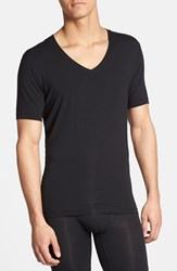 Men's Tommy John 'Second Skin' Deep V Neck T Shirt Black