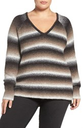 Tart Plus Size Women's 'Bary' Ombre Stripe V Neck Sweater