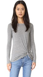 Enza Costa Side Knot Tee Heather Grey