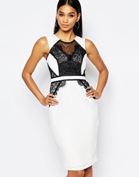 Lipsy Pencil Dress With Mesh Lace Contrast Whiteblack