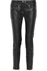 Belstaff Greenwich Leather And Stretch Twill Skinny Pants Black