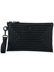Versace Quilted Clutch Bag Men Cotton Leather One Size Black
