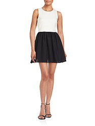 Likely Colorblock Fit And Flare Dress White Black
