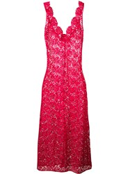 Ermanno Scervino Embroidered Maxi Dress Women Polyester 44 Pink Purple