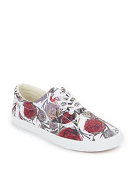 Bucketfeet Geo Rose Print Lace Up Low Top Sneakers Red