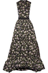 Alexander Mcqueen Floral Jacquard Gown Midnight Blue